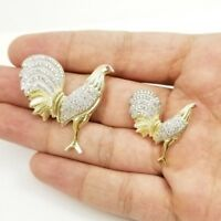 14K Solid Yellow / White Gold ROOSTER (chicken) Pendant / Charm Two Tone