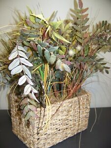 """Square Woven Flower Basket Home Decor 12"""" X 8"""" x 8"""" With flower 24"""" Tall"""
