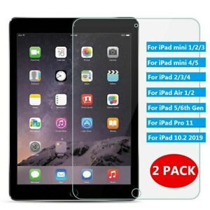 2PK Tempered Glass Screen Protector For Apple iPad 3 4 Mini Air Pro 11 10.2 10.9