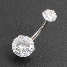 Barbell Ring 14k White Gold Finish 1.5Ct Round Cut Diamond Navel Belly Button