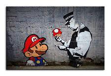 GRANDE Stampa Wall Art tela di Banksy Super Mario POLIZIA incorniciato