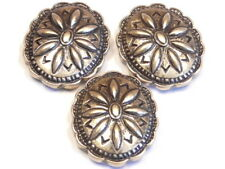 3 - 2 HOLE SLIDER BEADS ANTIQUED BRASS WESTERN SCALLOPED CONCHO COWBOY COWGIRL