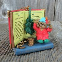 Vintage Mouse Reading Book Ornament Christmas Carol Glasses Dickens Westmar Book