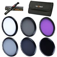 K&F Concept 49mm UV CPL FLD ND2 ND4 ND8 Filter Kit Lens Hood Cap for Sony Canon