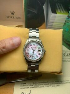 Authentic Rolex 6694 Oyster Day Date 36mm w/ Diamond bezel mother of pearl dial