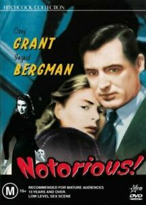 NOTORIOUS DVD 1946 NEW Region 4 Cary Grant, Ingrid Bergman ALFRED HITCHCOCK RARE