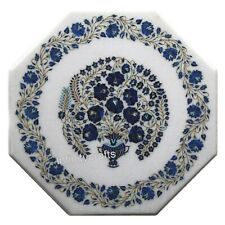 21 Inches Marble Center Table Stone Patio Coffee Table Top with Pietra Dura Art