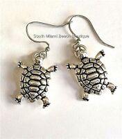 Silver Sea Life Turtle Earrings Nautical Island Turtles Dangle Pierced Plated