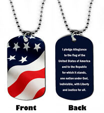 DOG TAG NECKLACE - American Flag Pledge of Allegiance USA Patriotic jewelry