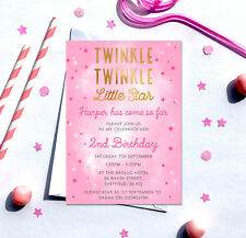 Twinkle Little Star Birthday Invitations *Any Age* - pack of 10 with envelopes