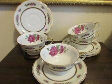 Black Knight Selb Bavaria Germany Porcelain Set Of 4 Tea Cup And Saucer