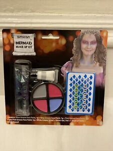 Mermaid Glitter Make up Face Paint Body Sticker Kit With Gems Amscan