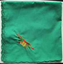 Christmas Embroidered Tablecloth / Topper 110cm Square - Green - New