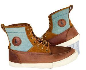 Polo Ralph Lauren Logo Tynedale Mens Brown Chambray Hi Top Sneakers Size 11D