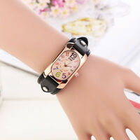 Colorful Oblong Quartz Band Women Wrist Case Watch
