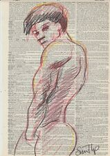 Male Nude Study- Conte Crayon  Fine Art Drawing- Direct from & Signed by Artist