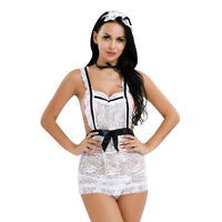 Women Sexy Maid Lace Apron Lingerie Outfit Cosplay Costume Teddy G-String Set