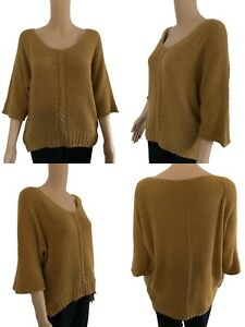NEW Womens Knitted Jumper Dress Ladies Top Round Neck Free Size 10 12 14 16 Brwn