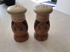 """Vintage Antique Salty Pair Wood Shakers 4"""""""