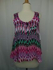Style & Co Petite Sleeveless Button-Down Tank Top Worldly Ikat Print PP #3412