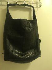 Shelly Litvak Black Python Unstructured Soft Leather Large Tote Shoulder Hearts