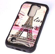 For LG K7 / Tribute 5 - Hard Rubber Hybrid Armor Case Cover Paris Eiffel Tower