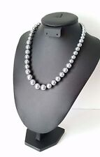 """Stunning 18"""" long silver - grey coloured graduated glass bead necklace * NEW *"""