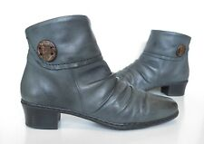 Ladies RIEKER Anti-Stress Grey Leather Ankle Low Heel Boots Size UK 5 Exc Cond