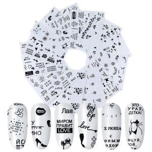 12pcs Nail Stickers Set DIY Nail Polish Sticker Nail Art Watermark Manicure Tips