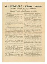 LAVAGNOLO EDITORE TORINO EDIZIONI TECNICHE PUBBLICAZIONI SCIENTIFICHE ANNI '30