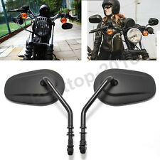 Black Tapered Teardrop Rearview Mirrors Long Stem For Harley Davidson Motorcycle