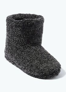 Mens Grey Fluffy Slipper Boots Slippers  Shoe Size 7-12 Booties