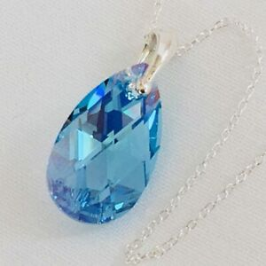925 Silver Made With Swarovski® Crystals Necklace Pendant Pear 22mm Aquamarine