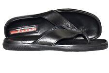 Authentic PRADA Logo Slide Sandals Flats #8 US 10 Leather Black Free Postage