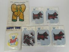 Vintage Lot of Appliques Patches Sew On Iron On Plaid Scottie Dogs Elephant