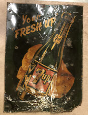 Vintage 7up Fresh Up Rare Tin Sign Original Early 1940s/50s Advertise Green Girl