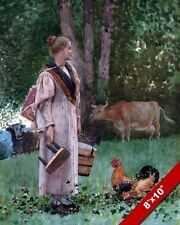 THE MILK MAID YOUNG GIRL READY TO MILK A COW PAINTING ART REAL CANVAS PRINT