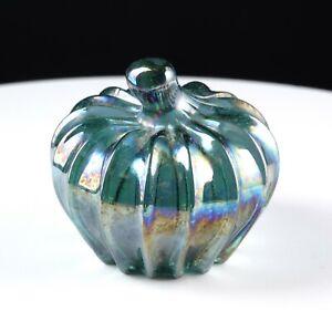 Boyd Glass Pumpkin Paperweight Light Green Iridescent Carnival 8/95 Hand Signed