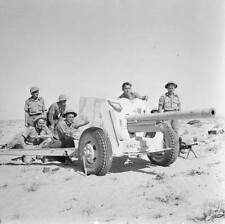 WWII B&W Photo British Army Field Gun Western Desert  WW2  World War Two / 1099