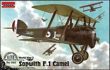 SOPWITH F1 CAMEL WITH BENTLEY BR.1 ENGINE (BRITISH RNAS MARKINGS) 1/72 RODEN