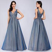 Ever-Pretty Womens Evening Dresses Long V-neck A-line Formal Party Dress Blue