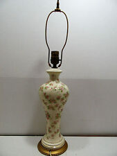 Vintage Table Lamp Pink Floral Design Gold Base & Accent Vanity Night Stand