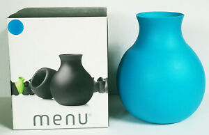"""MENU flexible 8"""" tall RUBBER VASE in TURQUOISE arrange in a variety of contours"""
