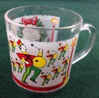 Vintage Luminarc Glass Twelve Days of Christmas Mug Tumbler 12th Day Drummers