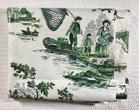 """Vintage Toile Polished Cotton Fabric Glazed Chintz 35""""X56"""" 1-1/2 Yards Green"""
