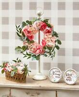 Vintage-Inspired Faux Cottage Roses Wreath Holder or Plaques Shabby Chic Decor