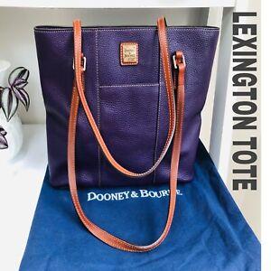 """Dooney & Bourke Leather Bag Lexington Tote Purple  Pebble Grain 14X12"""" VGC ++"""