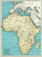 1943 Antique AFRICA MAP Vintage Collectible Map of Africa Gallery Wall Art 8361