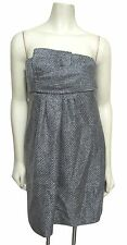 NWT Banana Republic Monogram Strapless Boucle Tweed Dress 6 Silver Gray $198 S