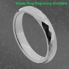 4mm Diamond Faceted Shiny Tungsten Band Women's Wedding Ring